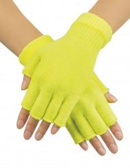 Korte handschoenen fluo geel voor volwassenen