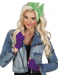 Vingerloze handschoenen paars