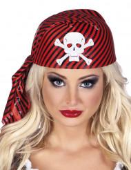 Piraten hoofddoekje rood-zwart voor volwassenen