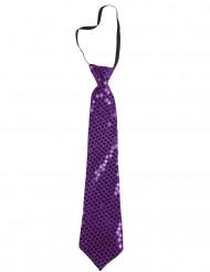 Paarse glitter stropdas voor volwassenen