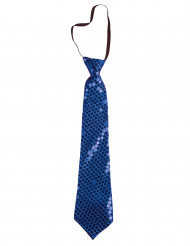 Blauwe carnaval stropdas met lovertjes voor volwassenen