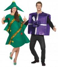 Grappig dennenboom en cadeau kostuum voor koppel