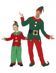 Kerst elfen kostuum voor vader en zoon
