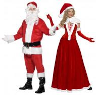 Deluxe kerstman en kerstvrouw koppel kostuum