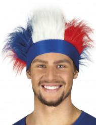 Franse supporter hoofdband met haren voor volwassenen