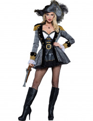 Premium grijze en goudkleurige piraten outfit voor dames