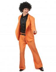 Oranje disco kostuum voor mannen