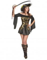 Zwart-geel piraten kostuum voor vrouwen