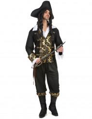 Zwart-goudkleurig piraat kostuum voor mannen