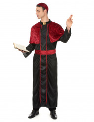 Rood en zwart bisschop kostuum voor mannen