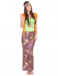 Groen-oranje hippie kostuum voor vrouwen