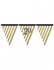 20 jaar zwarte en gouden vlaggenslinger