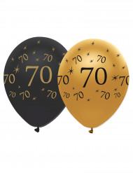 Zwart en goud rubber ballonnen 70 jaar