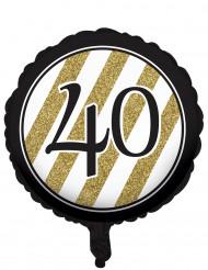 Zwarte en goudkleurige 40 jaar aluminium ballon