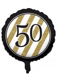 Zwarte en goudkleurige 50 jaar aluminium ballon