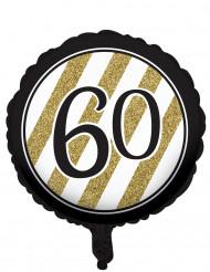 Zwarte en goudkleurige 60 jaar aluminium ballon
