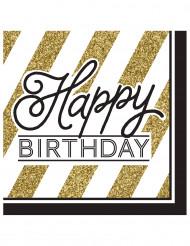 16 Happy Birthday servetten zwart-goud
