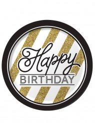8 borden Happy Birthday zwart-goud