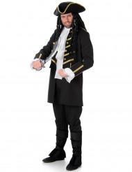 Zwart en goudkleurig piratenkostuum voor mannen