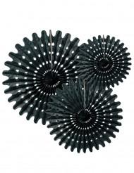 3 zwarte papieren rozetten