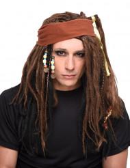 Bruin piraten pruik voor heren