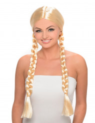 Blonde pruik met lange vlechten voor dames
