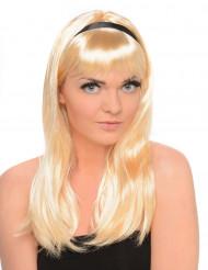 Blonde pruik met half lang stijl haar voor dames