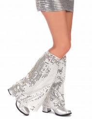 zilverkleurige disco beenwarmers voor volwassenen