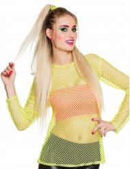 Fluo geel jaren 80 t-shirt voor vrouwen