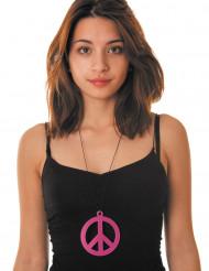 Roze fluo peace ketting voor volwassenen