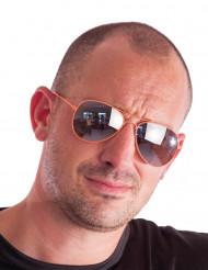 Oranje aviator bril voor volwassenen