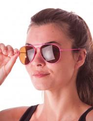 Fluo roze aviator zonnebril voor volwassenen