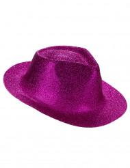 Donkerroze glitter hoed voor volwassenen