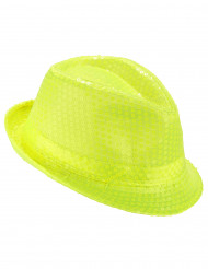 Gele pailletten hoed voor volwassenen