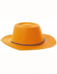 Oranje cowboy hoed met glitters voor volwassenen