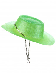 Groene cowboy hoed met glitters volwassenen