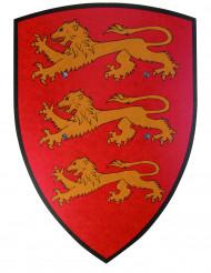Rood houten leeuwenschild 36 x 50 cm