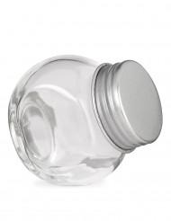 Klein glazen potje met metalen deksel