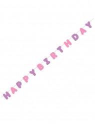 Roze en paarse Happy Birthday slinger