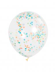 6 doorzichtige ballonnen met confetti