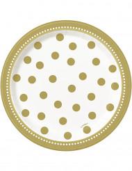 8 verjaardagsborden Goud 17 cm