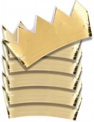 6 goudkleurige kartonnen kronen
