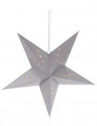 Grijze ster lantaarndecoratie 60 cm