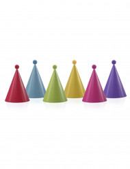 6 kleurrijke feesthoedjes met pompons