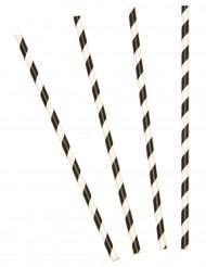 10 zwart gestreepte rietjes