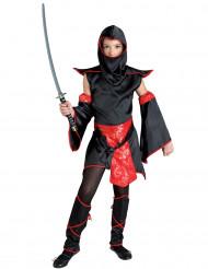 Zwart en rood ninjameester kostuum voor meisjes
