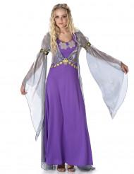 Paars middeleeuws prinsessen kostuum voor vrouwen