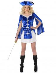 Blauw Musketier kostuum voor dames
