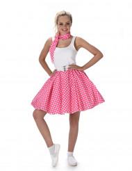 Roze jaren 50 kostuum met stippen voor vrouwen