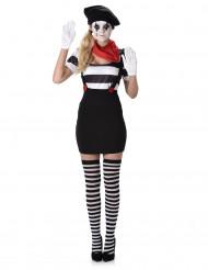 Retro mime kostuum voor vrouwen